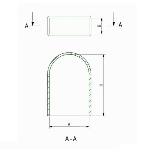 Rectangular Plastic Cap, Rounded End